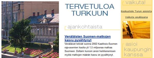 Kuvakaappaus vanhasta turku.fi-verkkosivusta.