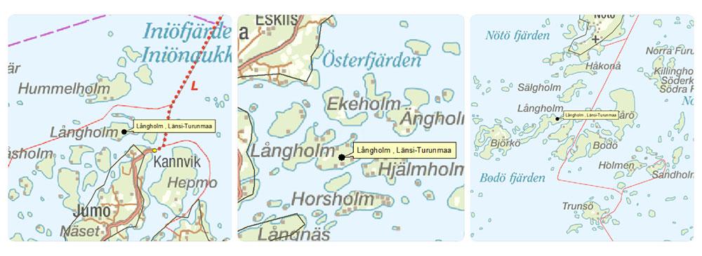 Esimerkiksi Långholm-niminen paikka löytyy Turunmaan saaristosta useammasta paikasta. Silloin pelkkä paikan nimi ei vielä riitä tiedoksi avun lähettämiseksi paikalle.