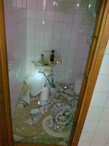 WC-tilat eivät olleet säästyneet tuholta.